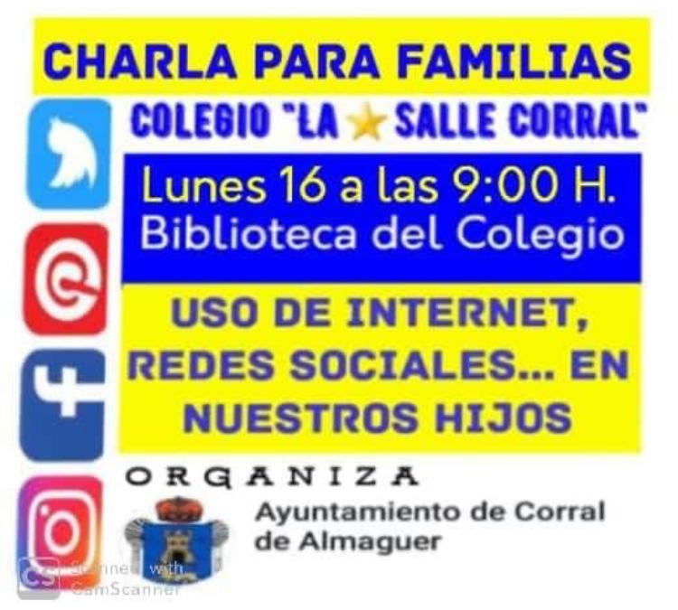 CHARLA PARA FAMILIAS – USO DE INTERNET, REDES SOCIALES EN NUESTROS HIJOS