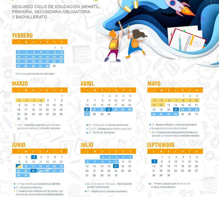 CALENDARIO ADMISIÓN ALUMNADO – CURSO 2020/2021